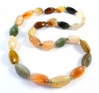 Chunky Mixed Agate Gemstone Bead Necklace.